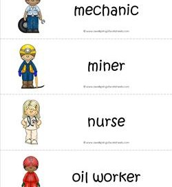 Community Helpers Vocabulary Cards - Mechanic, Miner, Nurse, Oil Worker.