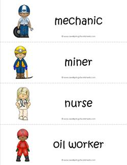 Community Helpers Vocabulary Cards - Mechanic, Miner, Nurse, Oil Worker.