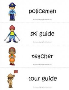 Community Helpers Vocabulary Cards - Policeman, Ski Guide, Teacher, Tour Guide