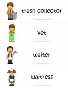 Community Helpers Vocabulary Cards - Trash Collector, Vet, Waiter, & Waitress