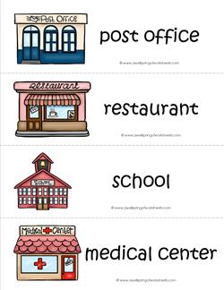 community helpers vocabulary cards buildings vehicles. Black Bedroom Furniture Sets. Home Design Ideas