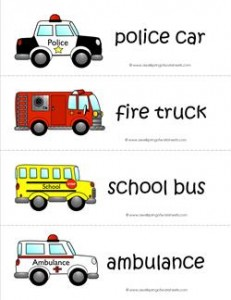Community Helpers Vocabulary Cards - Community Helper Vehicles