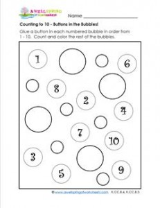Count to 10 - Buttons in the Bubbles!