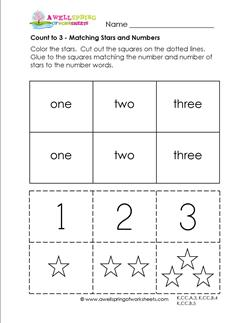 Count to 3 - Matching Stars and Numbers