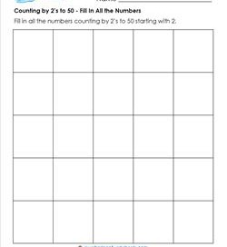 Counting by 2's to 50 - Fill in All the Numbers - Skip Counting Worksheets