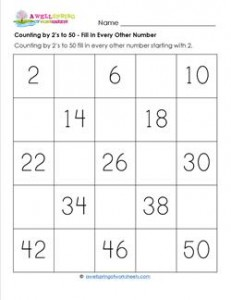 Counting by 2's to 50 - Fill in Every Other Number - Skip Counting Worksheets