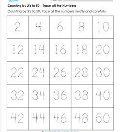 Counting by 2's to 50 - Trace All the Numbers - Skip Counting Worksheets