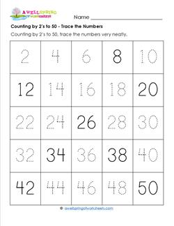 Counting by 2's to 50 - Trace the Numbers - Skip Counting Worksheets