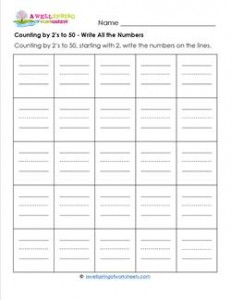 Counting by 2's to 50 - Write All the Numbers - Skip Counting Worksheets