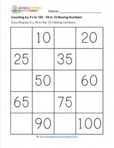 Counting by 5's to 100 - Fill in the 10 Missing Numbers