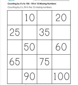 Counting by 5's to 100 - Fill in Ten Missing Numbers