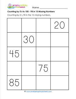 Counting by 5's to 100 - Fill in 15 Missing Numbers