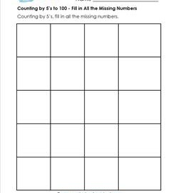 Counting by 5's to 100 - Fill in All the Missing Numbers