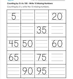 Counting by 5's to 100 - Write the 10 Missing Numbers on the Lines