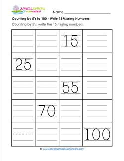 Counting by 5's to 100 - Write the 15 Missing Numbers