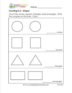 Counting to 2 - Shapes