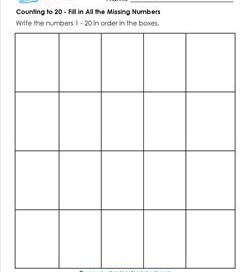 Counting to 20 - Fill in All the Missing Numbers