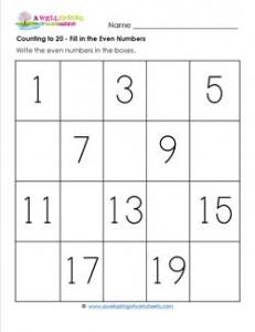Counting to 20 - Fill in All the Even Numbers