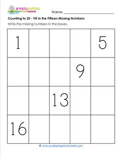 Counting to 20 - Fill in the Fifteen Missing Numbers