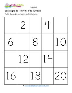 Counting to 20 - Fill in the Odd Numbers