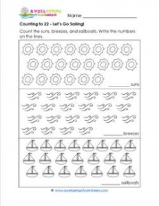 Counting to 22 - Let's Go Sailing! - Kindergarten Counting Worksheets