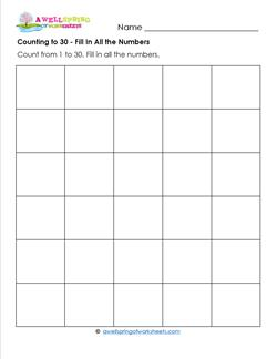 Counting to 30 - Fill In All the Numbers - Kindergarten Counting Worksheets