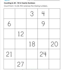 Counting to 30 - Fill In Twenty Numbers - Kindergarten Counting Worksheets