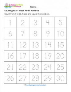 Counting to 30 - Trace All the Numbers - Kindergarten Counting Worksheets