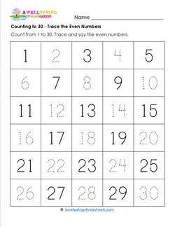 Counting to 30 - Trace the Even Numbers - Kindergarten Counting Worksheets