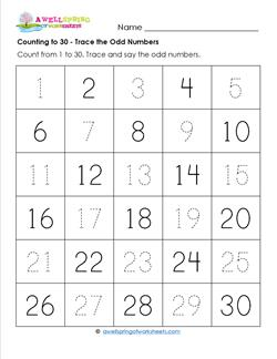 Counting to 30 - Trace the Odd Numbers - Kindergarten Counting Worksheets