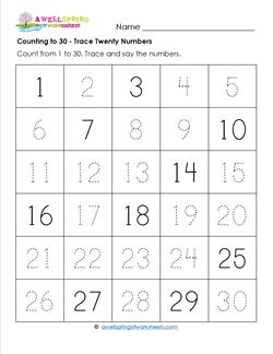 Counting to 30 - Trace Twenty Numbers - Kindergarten Counting Worksheets
