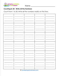 Counting to 30 - Write All the Numbers - Kindergarten Counting Worksheets
