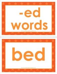 cvc word cards -ed words
