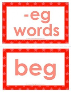 cvc word cards -eg words