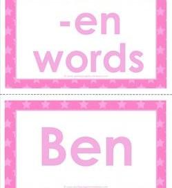 cvc word cards -en words