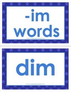 cvc word cards -im words