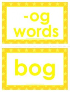cvc word cards - og words