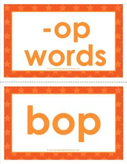 cvc word cards - op words