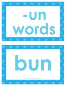 cvc word cards -un words