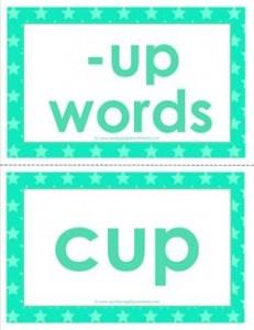 cvc word cards -up words
