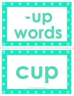 cvc word cards -up words