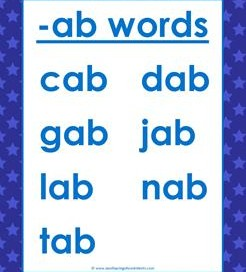 CVC Words List - Short Vowel Word Lists - Kindergarten Phonics