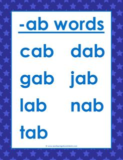 cvc words list -ab words