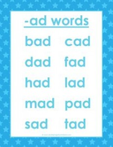 cvc words list - ad words