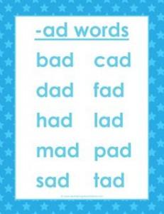 cvc words list - ad words