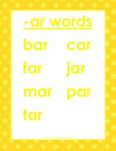 cvc words list -ar words