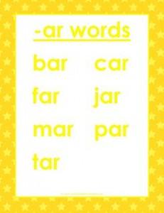 cvc words list -ar words