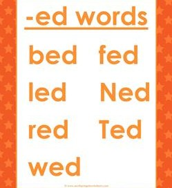 cvc words list -ed words