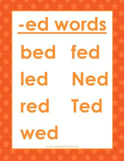 cvc words list -ed words
