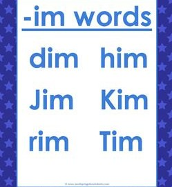 cvc words list -im words